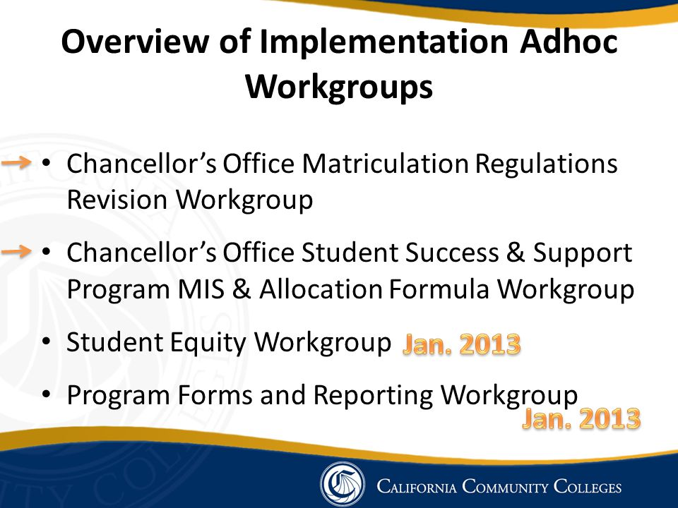 Overview of Implementation Adhoc Workgroups Chancellor's Office Matriculation Regulations Revision Workgroup Chancellor's Office Student Success & Sup