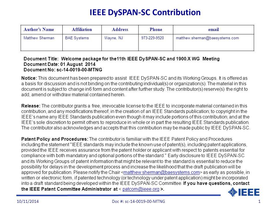 Venu: IEEE Operations Center IEEE Operations Center 445 Hoes Lane Piscataway, NJ 08854.
