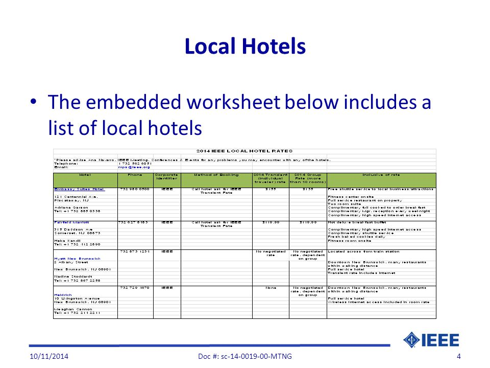 Local Hotels The embedded worksheet below includes a list of local hotels 10/11/2014Doc #: sc-14-0019-00-MTNG4