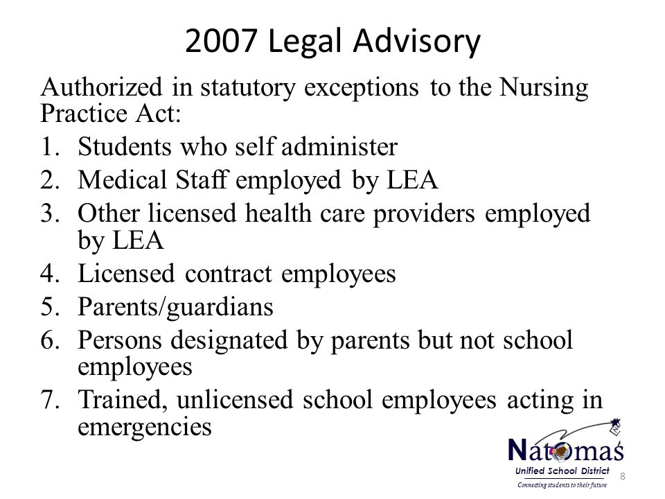 2007 Legal Advisory Authorized in statutory exceptions to the Nursing Practice Act: 1.Students who self administer 2.Medical Staff employed by LEA 3.Other licensed health care providers employed by LEA 4.Licensed contract employees 5.Parents/guardians 6.Persons designated by parents but not school employees 7.Trained, unlicensed school employees acting in emergencies 8 N at o mas Connecting students to their future Unified School District