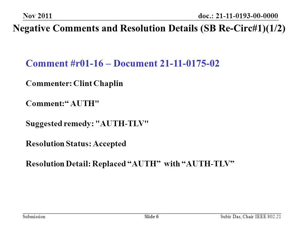 doc.: 21-11-0193-00-0000 Submission Negative Comments and Resolution Details (SB Re-Circ#1)(1/2) Slide 6 Nov 2011 Comment #r01-16 – Document 21-11-0175-02 Commenter: Clint Chaplin Comment: AUTH Suggested remedy: AUTH-TLV Resolution Status: Accepted Resolution Detail: Replaced AUTH with AUTH-TLV Slide 6Subir Das, Chair IEEE 802.21