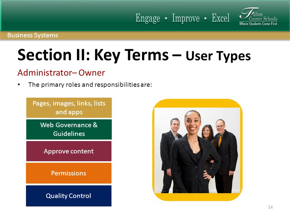 Business Systems Section II: Key Terms – User Types Administrator– Owner The primary roles and responsibilities are: 14 Web Governance & Guidelines Pages, images, links, lists and apps Approve content Quality Control Permissions
