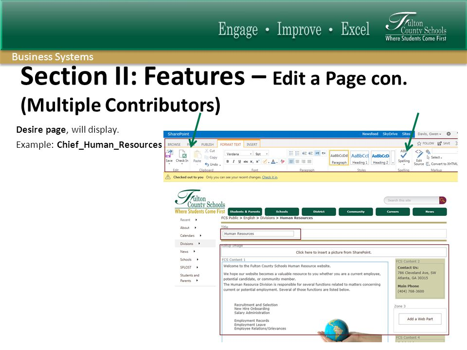 Business Systems Section II: Features – Edit a Page con.