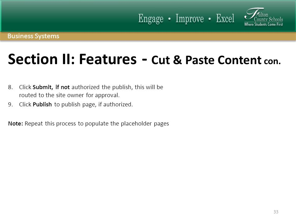 Business Systems Section II: Features - Cut & Paste Content con.
