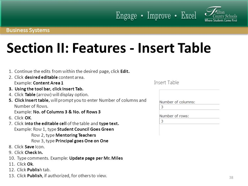 Business Systems Section II: Features - Insert Table 1.