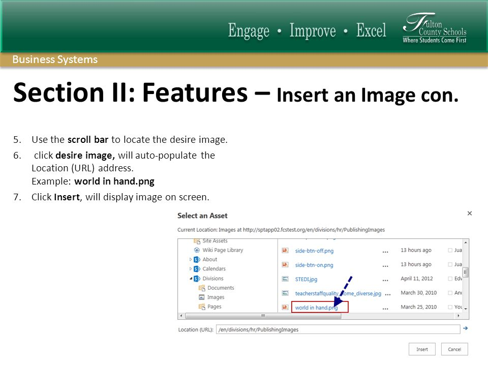 Business Systems Section II: Features – Insert an Image con.