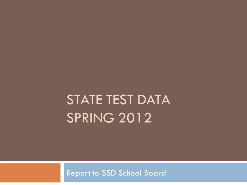 STATE TEST DATA SPRING 2012 Report to SSD School Board