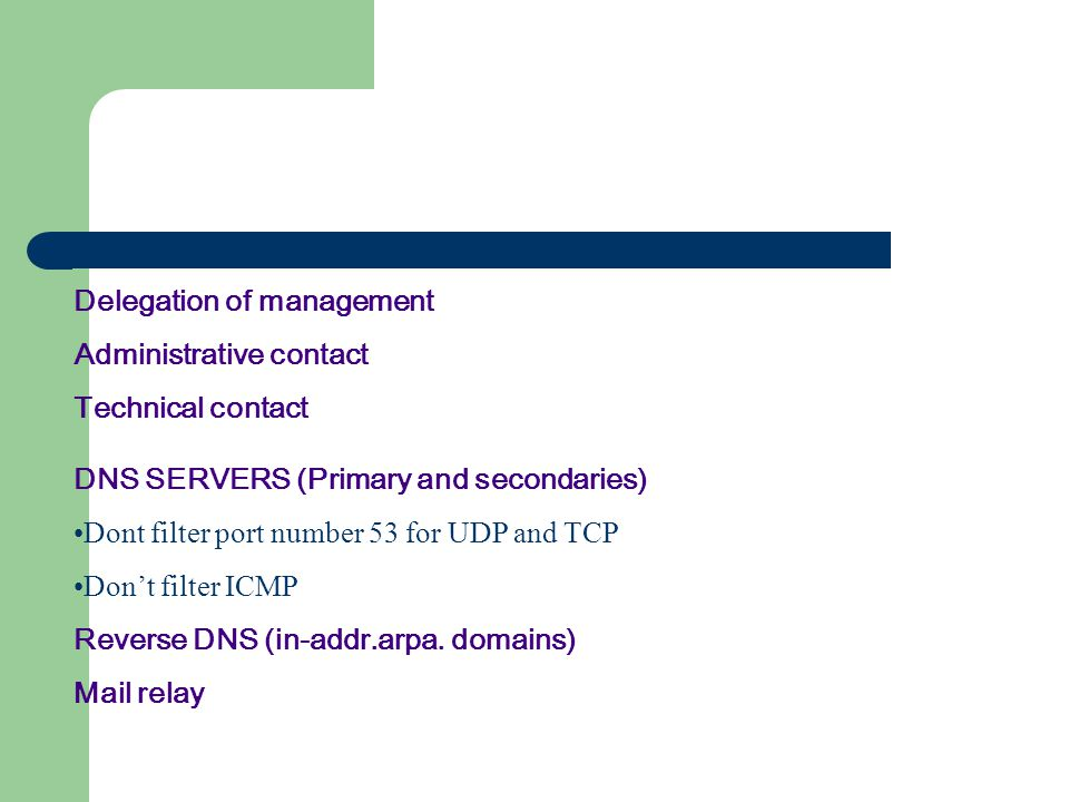 Delegation of management Administrative contact Technical contact DNS SERVERS (Primary and secondaries) Dont filter port number 53 for UDP and TCP Don't filter ICMP Reverse DNS (in-addr.arpa.