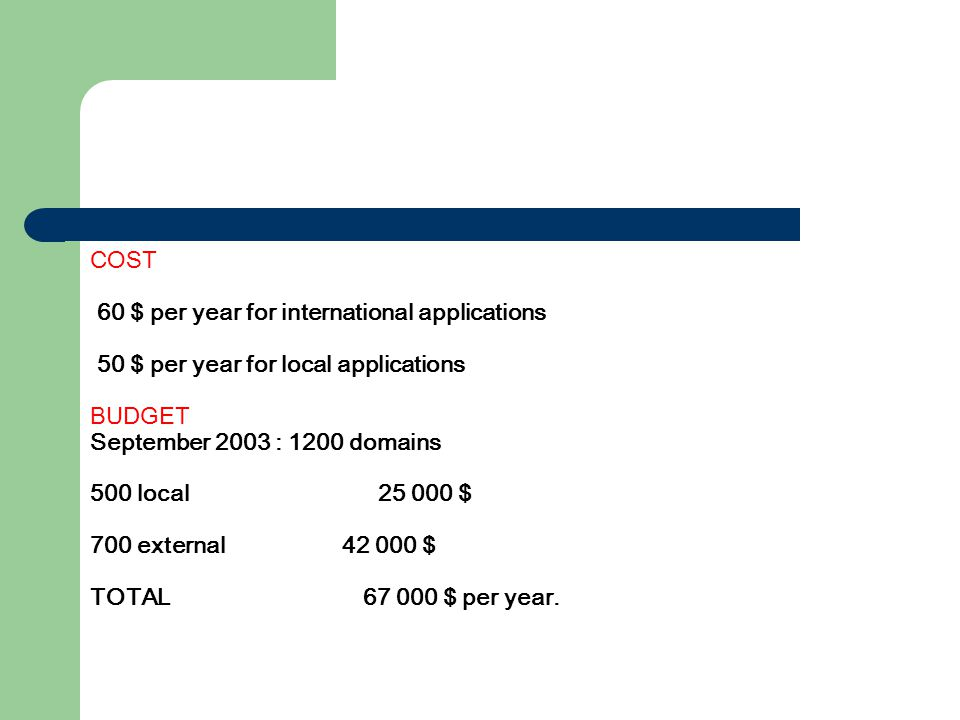 COST 60 $ per year for international applications 50 $ per year for local applications BUDGET September 2003 : 1200 domains 500 local25 000 $ 700 external 42 000 $ TOTAL 67 000 $ per year.