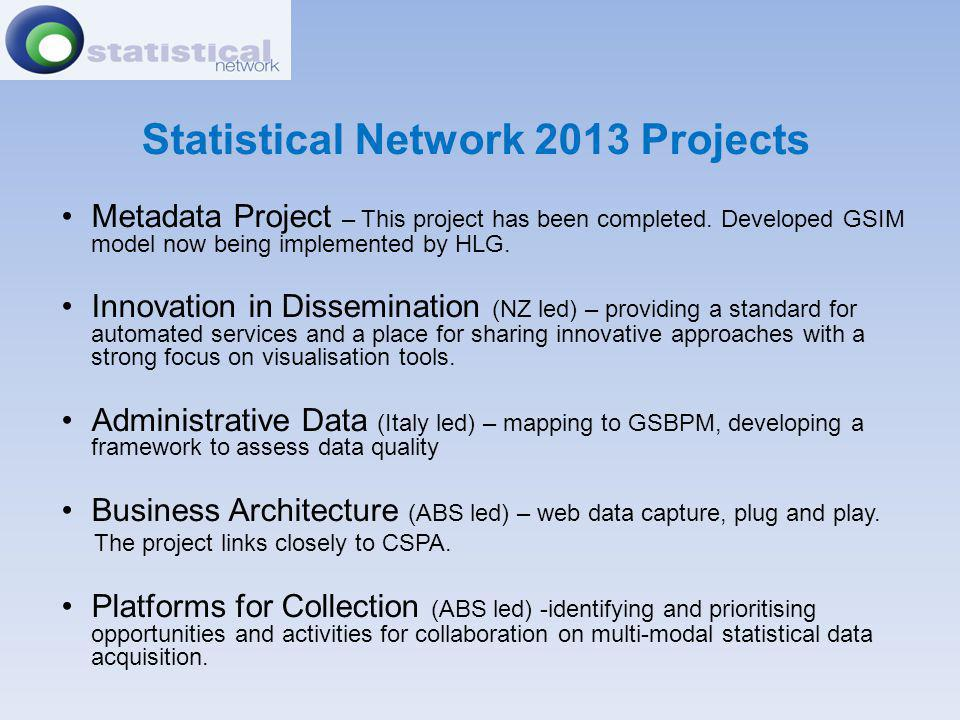 Statistical Network 2013 Projects Metadata Project – This project has been completed. Developed GSIM model now being implemented by HLG. Innovation in