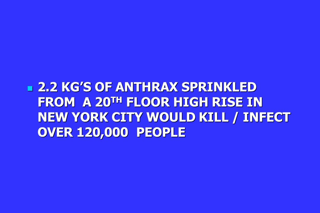 2.2 KG'S OF ANTHRAX SPRINKLED FROM A 20 TH FLOOR HIGH RISE IN NEW YORK CITY WOULD KILL / INFECT OVER 120,000 PEOPLE 2.2 KG'S OF ANTHRAX SPRINKLED FROM A 20 TH FLOOR HIGH RISE IN NEW YORK CITY WOULD KILL / INFECT OVER 120,000 PEOPLE