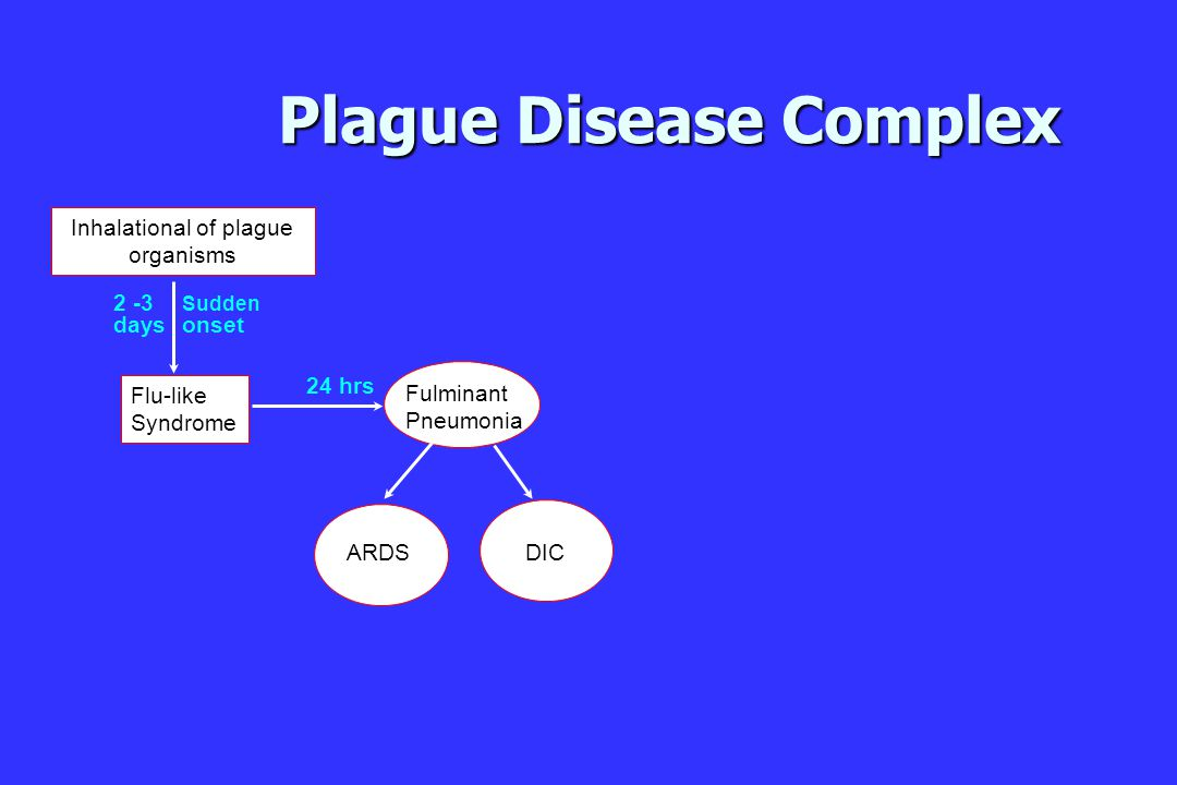 Plague Disease Complex ARDS DIC Fulminant Pneumonia Flu-like Syndrome Sudden onset 2 -3 days 24 hrs Inhalational of plague organisms