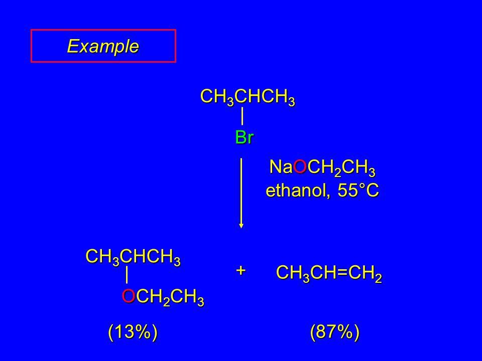 CH 3 CHCH 3 Br NaOCH 2 CH 3 ethanol, 55°C CH 3 CHCH 3 OCH 2 CH 3 CH 3 CH=CH 2 + (87%) (13%) Example