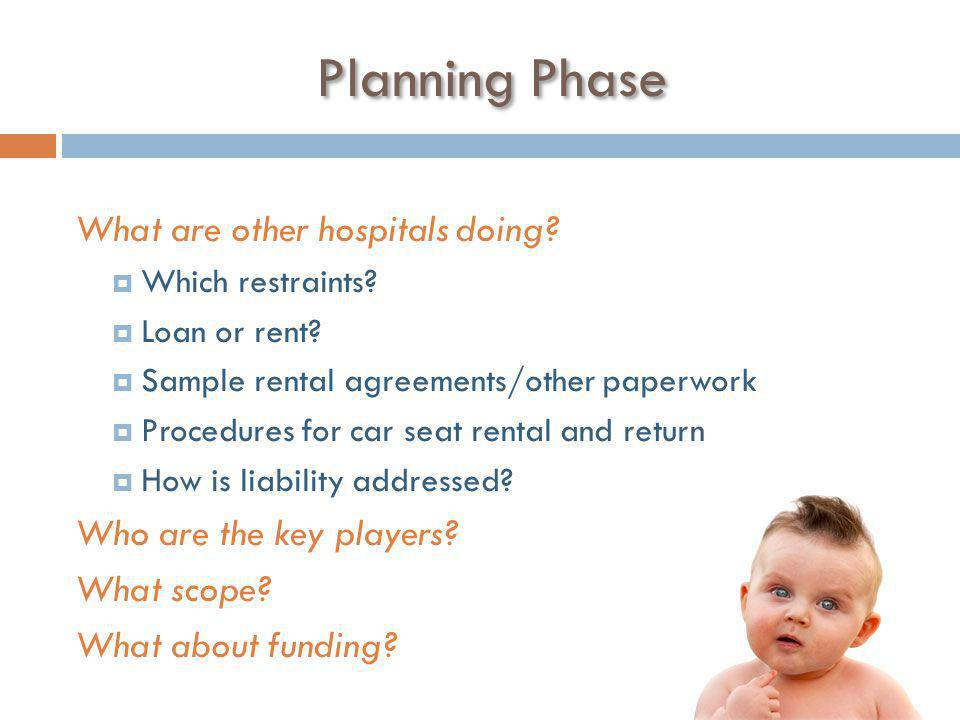 Planning Phase What are other hospitals doing.  Which restraints.