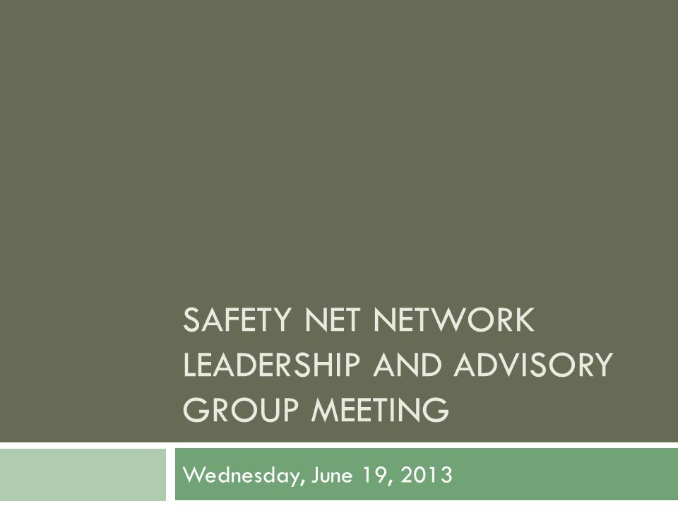 SAFETY NET NETWORK LEADERSHIP AND ADVISORY GROUP MEETING Wednesday, June 19, 2013