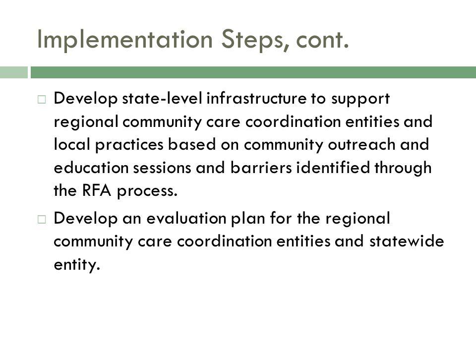 Implementation Steps, cont.