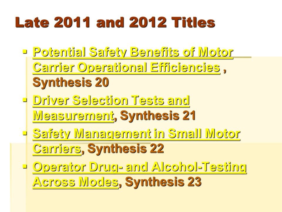 And Most Recently  Distracted Driving Countermeasures for Commercial Vehicles, Synthesis 24 Distracted Driving Countermeasures for Commercial Vehicles Distracted Driving Countermeasures for Commercial Vehicles