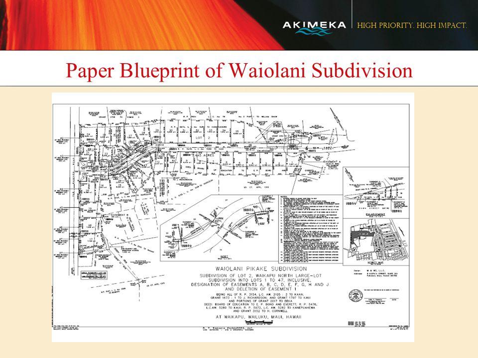 Paper Blueprint of Waiolani Subdivision