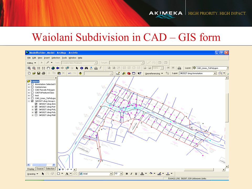 Waiolani Subdivision in CAD – GIS form