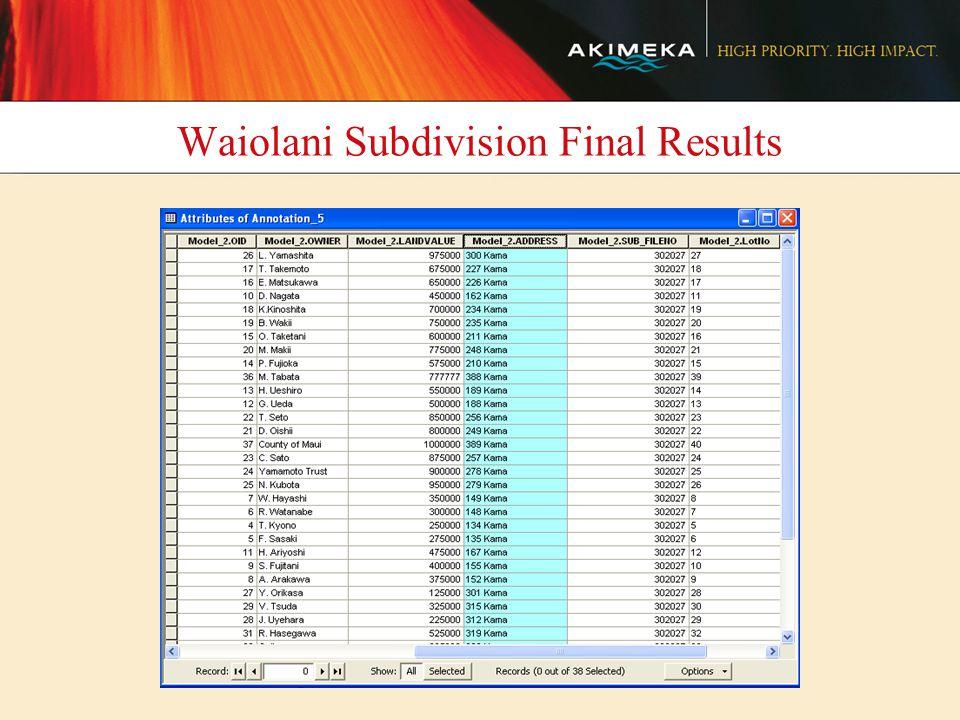 Waiolani Subdivision Final Results