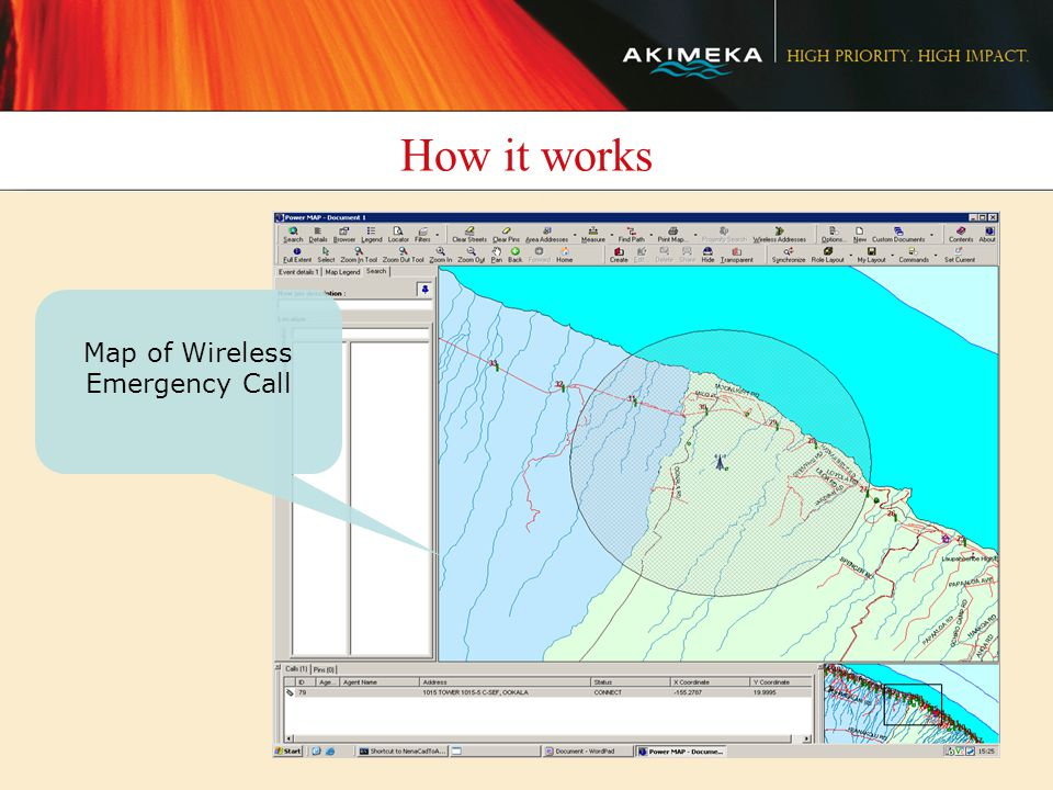 How it works Map of Wireless Emergency Call