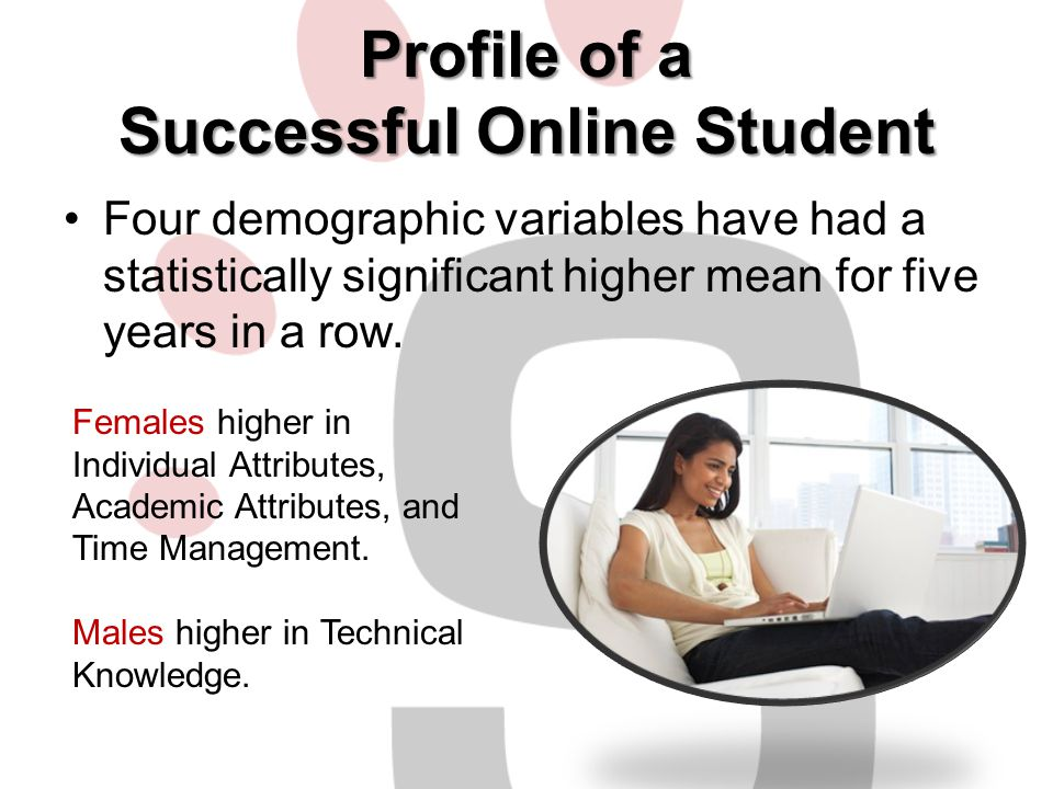 Profile of a Successful Online Student Four demographic variables have had a statistically significant higher mean for five years in a row. Females hi