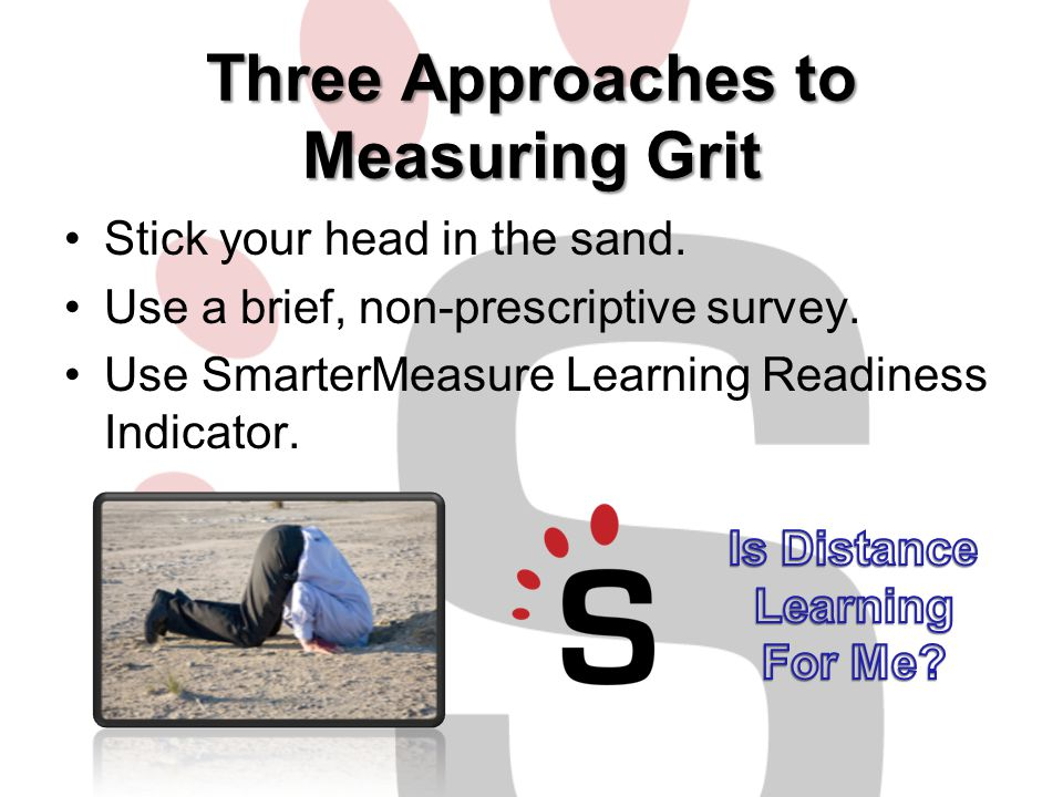 SmarterMeasure Learning Readiness Indicator A 124-item online skills test and attributes inventory that measures a student's level of readiness for studying online Used by over 500 Colleges and Universities Since 2002 taken by over 2,300,000 students