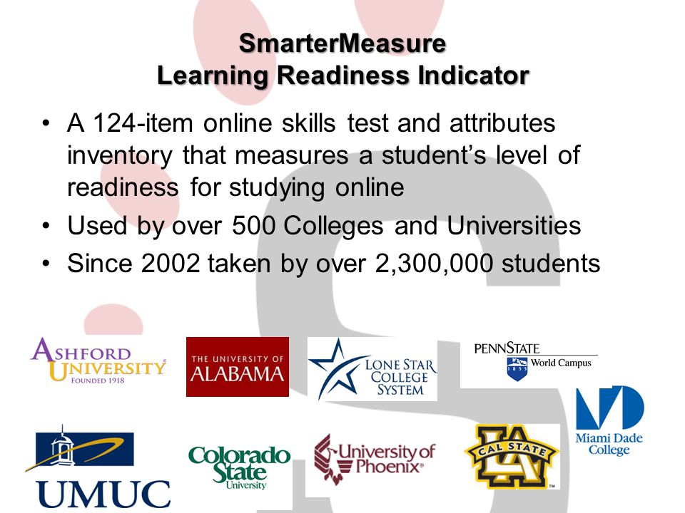 SmarterMeasure Learning Readiness Indicator A 124-item online skills test and attributes inventory that measures a student's level of readiness for st