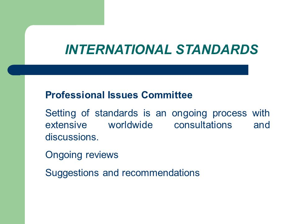 INTERNATIONAL STANDARDS Professional Issues Committee Setting of standards is an ongoing process with extensive worldwide consultations and discussions.