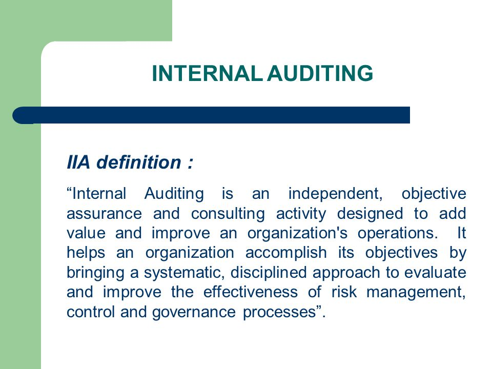 International - CODE OF CONDUCT Confidentiality : All Internal Auditors shall - protect all company information - not use information for personal gains.