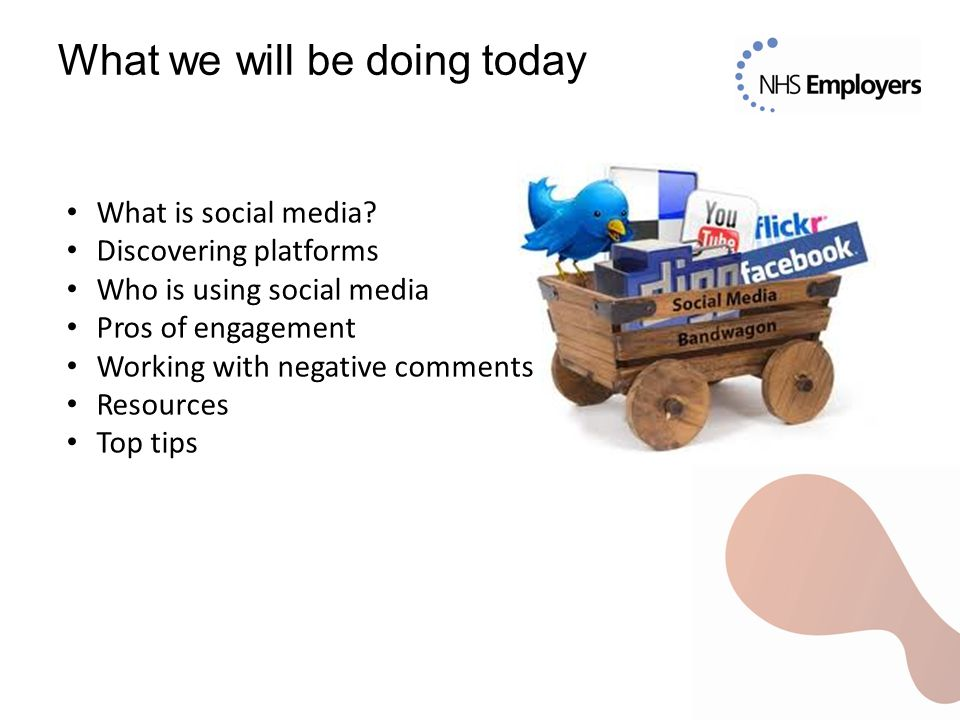 What we will be doing today What is social media? Discovering platforms Who is using social media Pros of engagement Working with negative comments Re