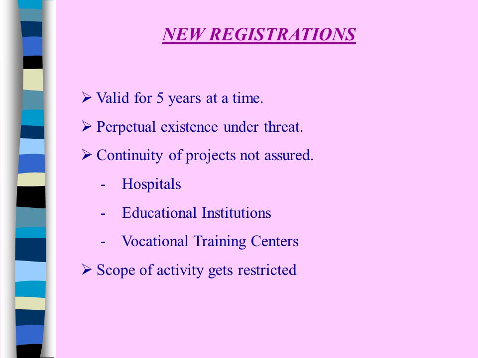 NEW REGISTRATIONS  Valid for 5 years at a time.  Perpetual existence under threat.  Continuity of projects not assured. - Hospitals - Educational I