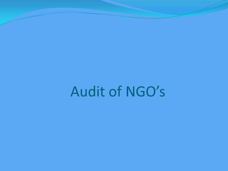 Audit of NGO's