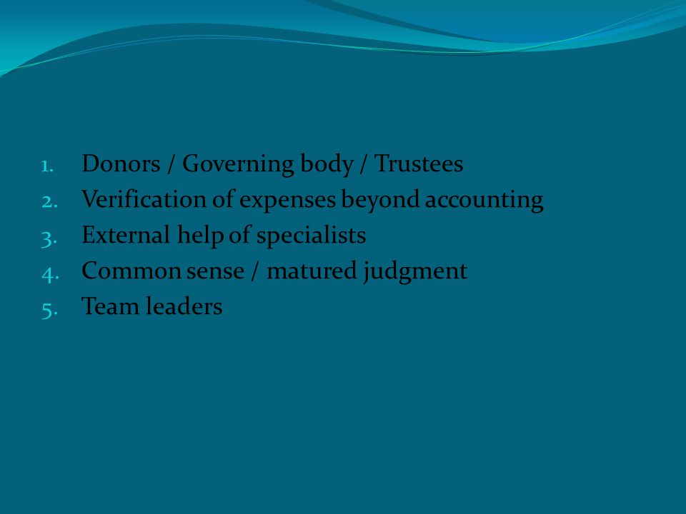 Efficiency audit 1. Donors / Governing body / Trustees 2.