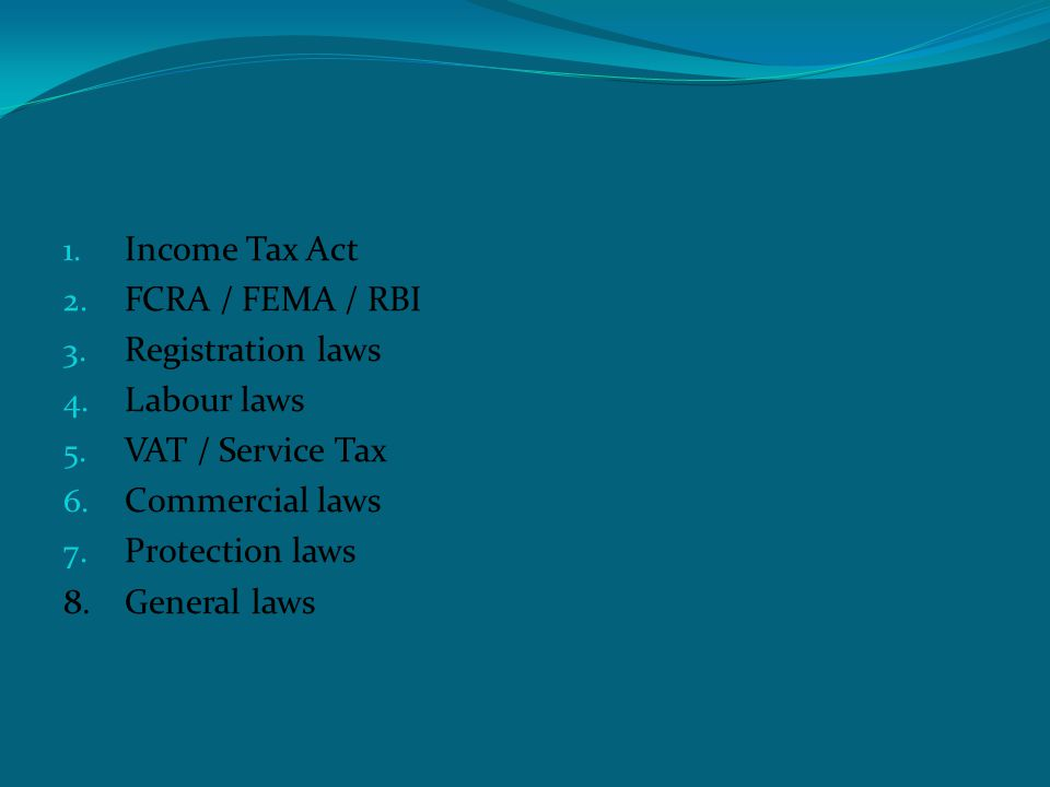 Statutory Compliances 1. Income Tax Act 2. FCRA / FEMA / RBI 3.