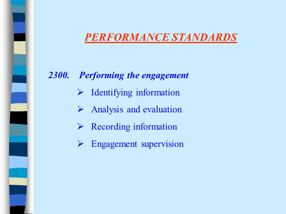 PERFORMANCE STANDARDS 2300. Performing the engagement  Identifying information  Analysis and evaluation  Recording information  Engagement supervi