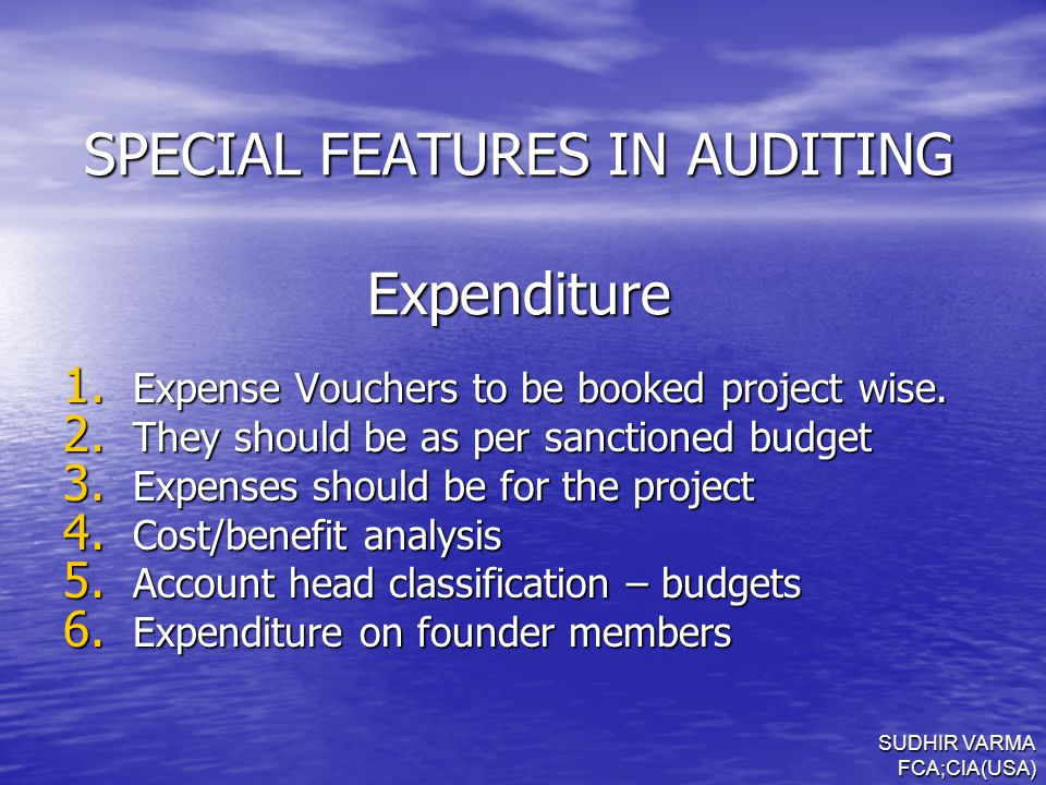 SPECIAL FEATURES IN AUDITING Expenditure 1. Expense Vouchers to be booked project wise.