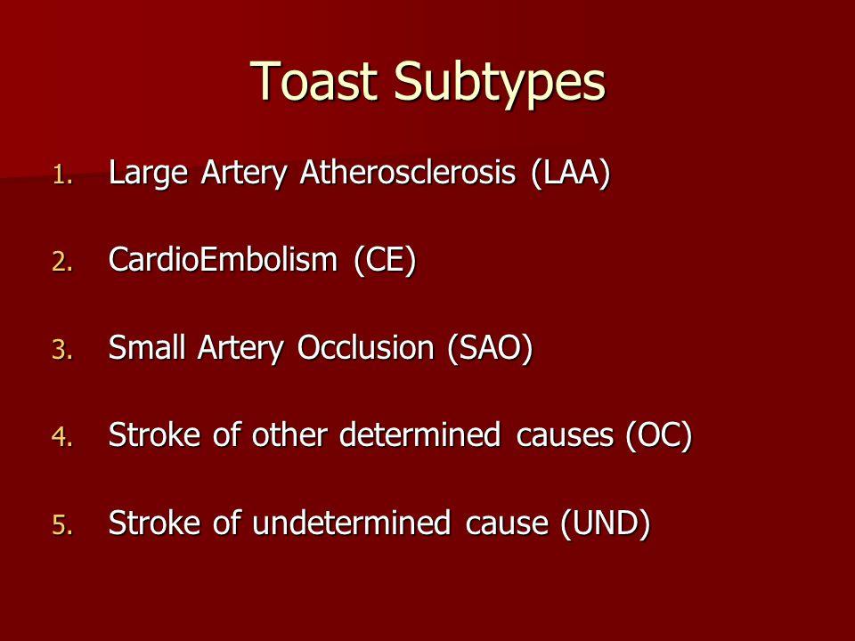 Toast Subtypes 1. Large Artery Atherosclerosis (LAA) 2.