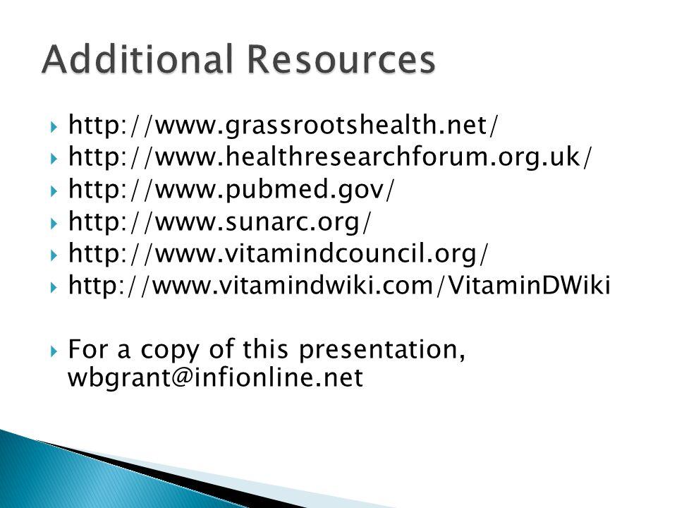  http://www.grassrootshealth.net/  http://www.healthresearchforum.org.uk/  http://www.pubmed.gov/  http://www.sunarc.org/  http://www.vitamindcou