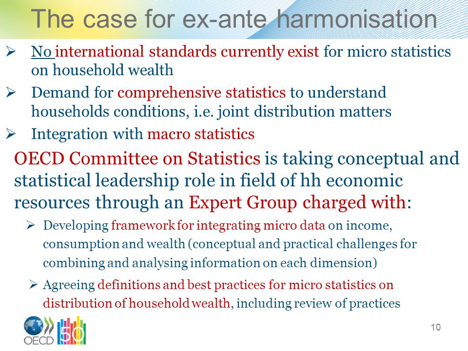 The case for ex-ante harmonisation  No international standards currently exist for micro statistics on household wealth  Demand for comprehensive statistics to understand households conditions, i.e.