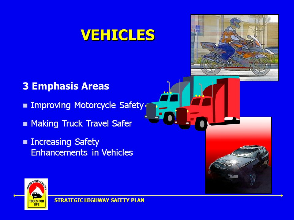 STRATEGIC HIGHWAY SAFETY PLAN VEHICLES 3 Emphasis Areas Improving Motorcycle Safety Making Truck Travel Safer Increasing Safety Enhancements in Vehicles