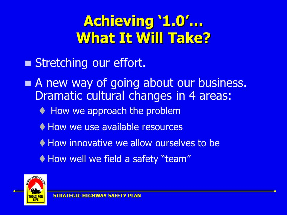 STRATEGIC HIGHWAY SAFETY PLAN Achieving '1.0'… What It Will Take.
