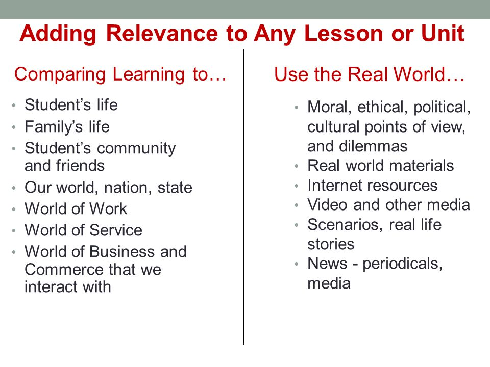 Comparing Learning to… Student's life Family's life Student's community and friends Our world, nation, state World of Work World of Service World of B