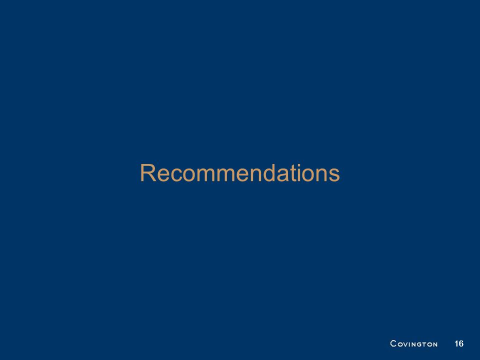 16 Recommendations 16