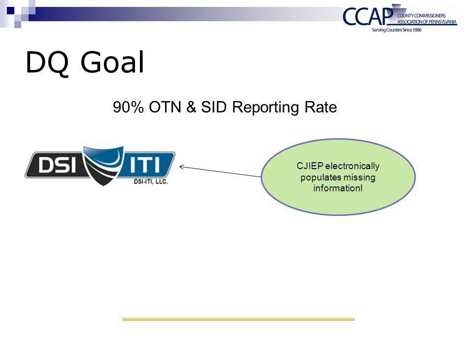 DQ Goal CJIEP electronically populates missing information! 90% OTN & SID Reporting Rate