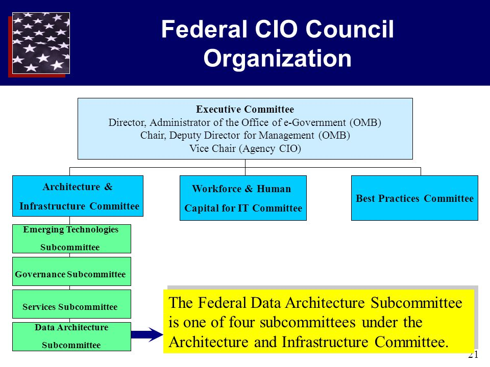21 Federal CIO Council Organization Executive Committee Director, Administrator of the Office of e-Government (OMB) Chair, Deputy Director for Managem