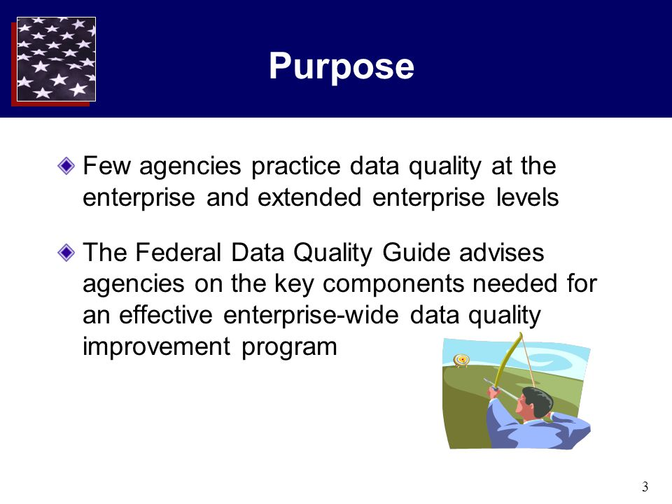 3 Purpose Few agencies practice data quality at the enterprise and extended enterprise levels The Federal Data Quality Guide advises agencies on the k