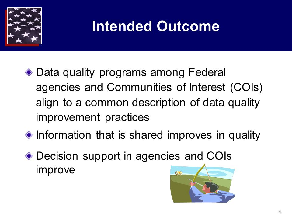 4 Intended Outcome Data quality programs among Federal agencies and Communities of Interest (COIs) align to a common description of data quality impro