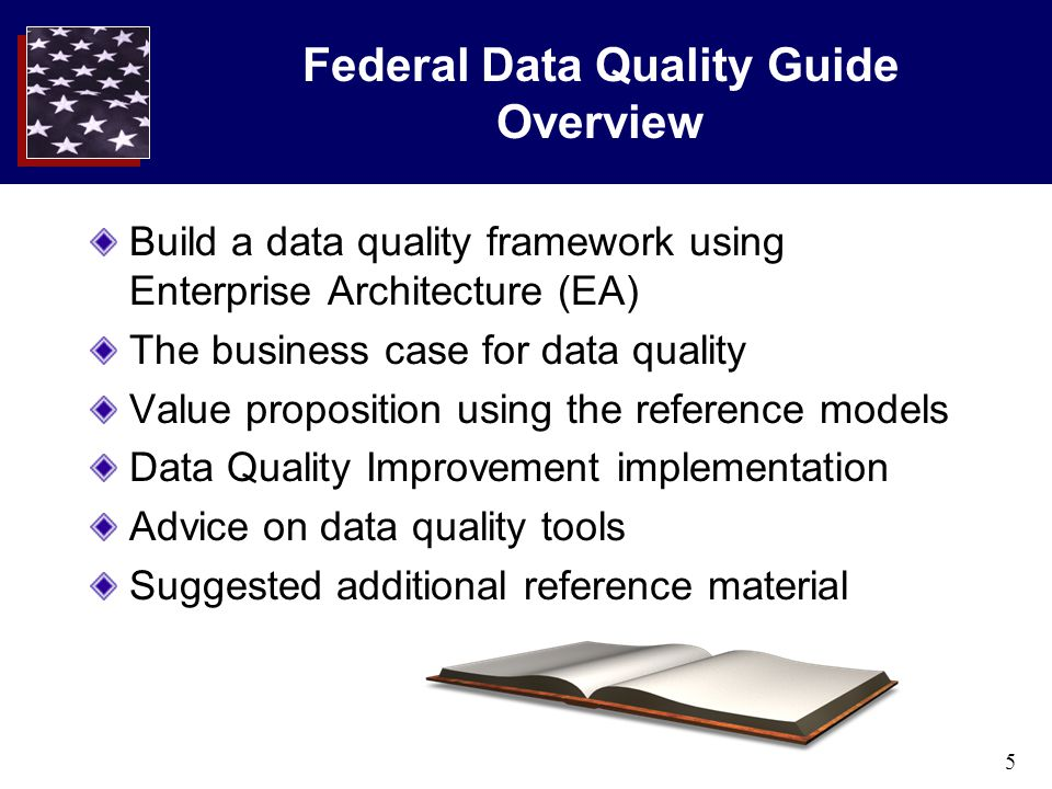 5 Federal Data Quality Guide Overview Build a data quality framework using Enterprise Architecture (EA) The business case for data quality Value propo