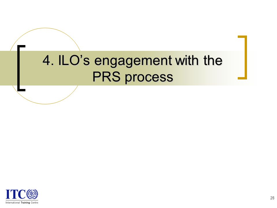 28 4. ILO's engagement with the PRS process